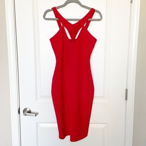 LULUS •Red Midi Bodycon Dress Valentines Day Sz XS